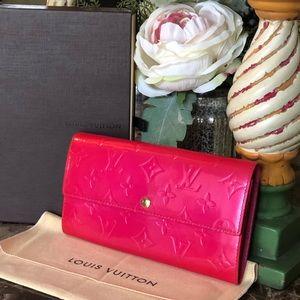 AUTH Louis Vuitton Vernis Sarah Wallet BOX,DUSTBAG